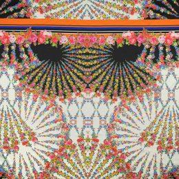 Атлас-стрейч, купон (красочные веера цветов) (007925)