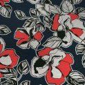 Трикотаж вискозный (красные блики цветов на серо-синем) (008076)