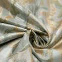 Жаккард хлопковый (морозные тюльпаны в золотом) (008756)
