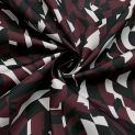 Ткань плащевая именная Moncler (бордово-ахроматический вектор) (010490)