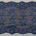 Кружево эластичное, 155 мм, темно-синий, цветочный 01 (010880)