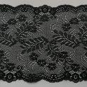 Кружево эластичное, 175 мм, черный, цветочный дизайн 02 (010884)