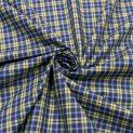 Поплин хлопковый (лимонно-синяя клеточка) (011287)